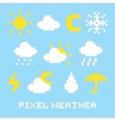 Pixel art weather set vector