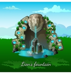 Fountain with a lion head on nature background vector