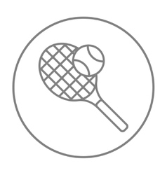 Tennis racket and ball line icon vector