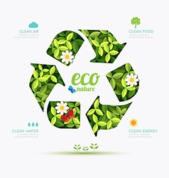 Ecology infographic recycle symbol shape design vector
