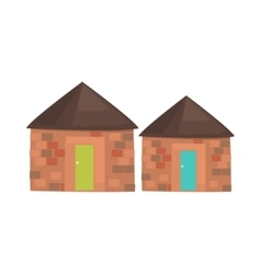 African local houses realistic simplified drawing vector
