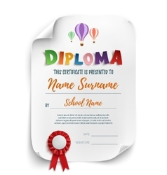 Diploma template with air balloons vector image