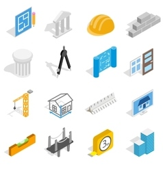 Architecture icons set isometric 3d style vector