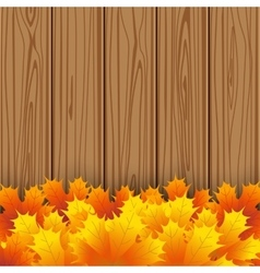 Autumn maple leaf on wooden boards background vector image vector image