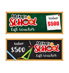 Back to school gift voucher template with vector