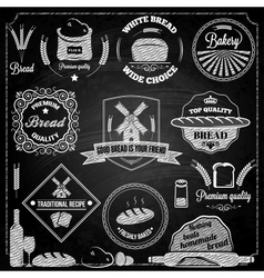 Bread bakery set elements chalkboard vector