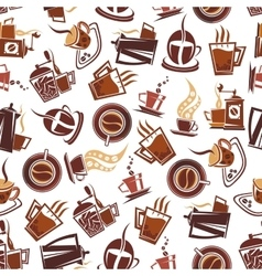 Brown coffee retro seamless pattern vector