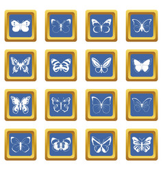Butterfly set icons set blue vector