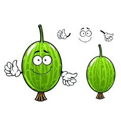 Cartoon green gooseberry fruit character vector image vector image