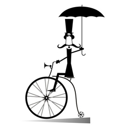 Cartoon man rides a bike vector