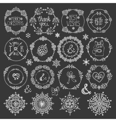 ChristmasNew year decorWinter circle frames set vector image vector image