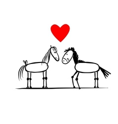Couple of horses in love sketch for your design vector image