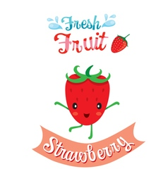 Cute Cartoon Of Strawberry Fruit Banner Logo vector image