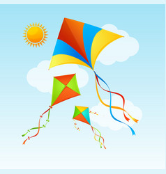 flying kite and clouds on a blue sky summer vector image