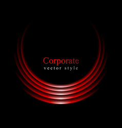 Glow red curve logo on black background vector