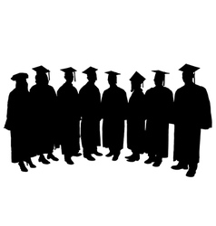 Graduates Silhouette vector image vector image