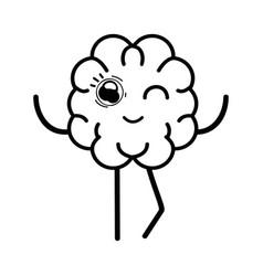 line icon adorable kawaii brain expression vector image