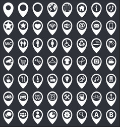 map pointer icons set vector image