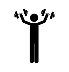 monochrome pictogram of man with dumbbell vector image vector image