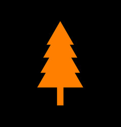 New year tree sign orange icon on black vector