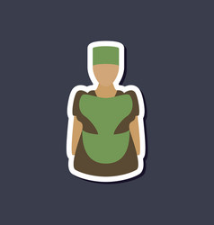 Paper sticker on stylish background woman chef vector