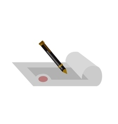 Pen with paper and seamless background vector image