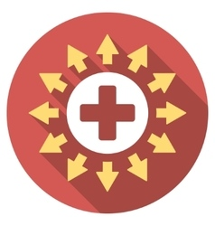 Pharmacy distribution flat round icon with long vector