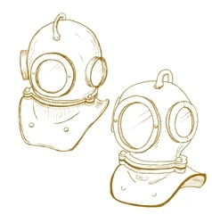 Retro diving suit helmet vector image