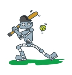 Robot playing baseball t-shirt design vector