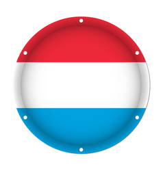 Round metallic flag of luxembourg with screw holes vector