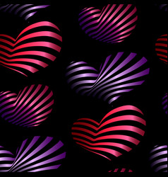seamless pattern with bright decorative hearts vector image vector image