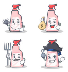Set of cleaner character with doctor money bag vector