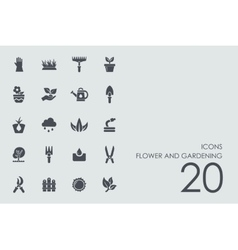 Set of flower and gardening icons vector