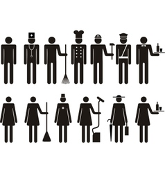 Set of icons of figure people job occupation vector