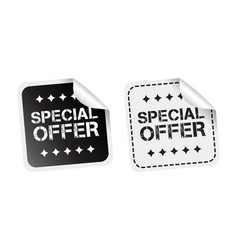 Special offer sticker black and white vector