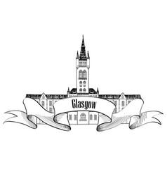 travel scotland sign glasgow city university uk vector image