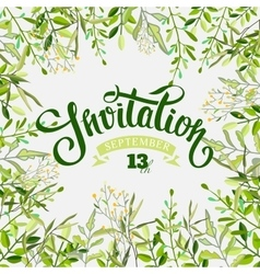 Invitation card with brunch and lettering vector