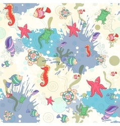 Seamless pattern with sea inhabitants vector