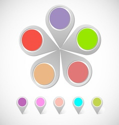 Colorful round pin pointer vector