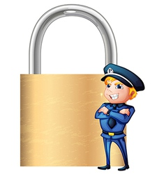 A smiling cop beside the giant padlock vector