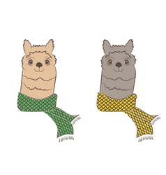 Cute hipster alpaca with scarf vector image