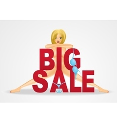 Nude woman standing behind big sale text vector