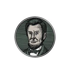 Victorian gentleman goatee etching vector