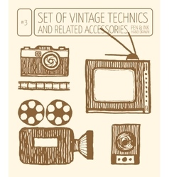 Set of vintage technics hand drawn pen and ink vector