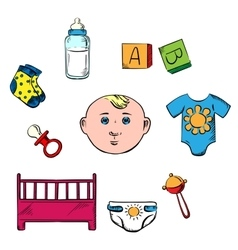 Little boy and childish toys icons vector