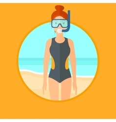 Female scuba diver on the beach vector