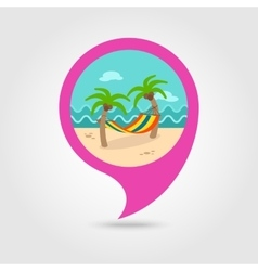 Hammock with palm trees on beach pin map icon vector