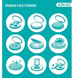 Set of round icons white woman face powder vector