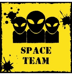 Alien space team logo on yellow background vector