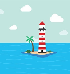 Beach lighthouse seashore view vector